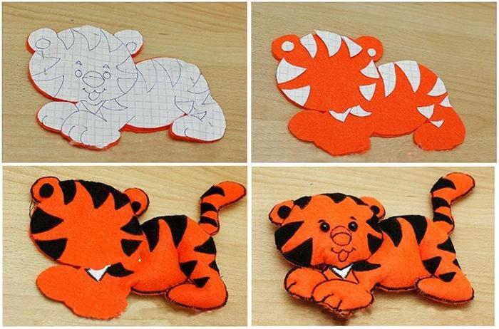 Тигр из фетра своими руками-2